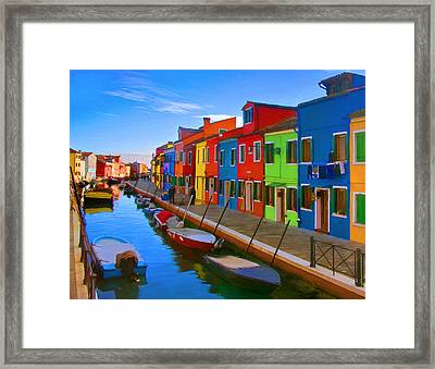 Burano Island In The Venetian Lagoon Framed Print by Michael Pickett