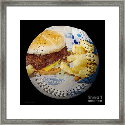 Burger And Fries Baseball Square Framed Print by Andee Design