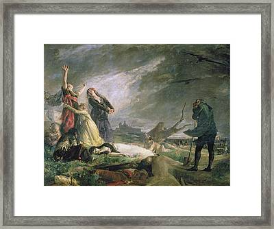 Burial At La Moncloa In May 1808 Oil On Canvas Framed Print by Vincente Gonzalez Palmaroli