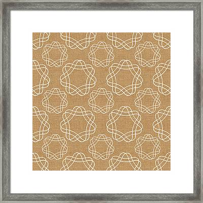 Burlap And White Geometric Flowers Framed Print by Linda Woods