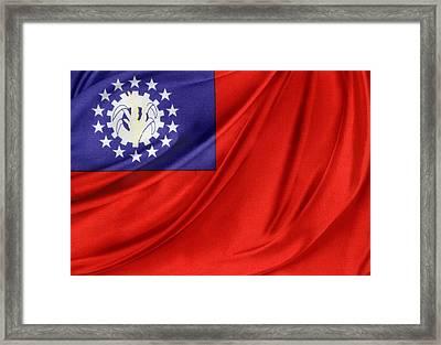 Burmese Flag Framed Print by Les Cunliffe