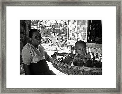 Burmese Grandmother And Grandchild Framed Print by RicardMN Photography