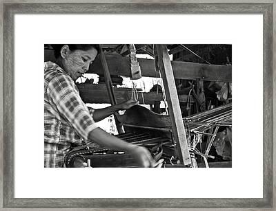 Burmese Woman Working With A Handloom Weaving. Framed Print by RicardMN Photography