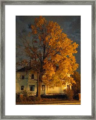 Burning Leaves At Night Framed Print by Guy Ricketts