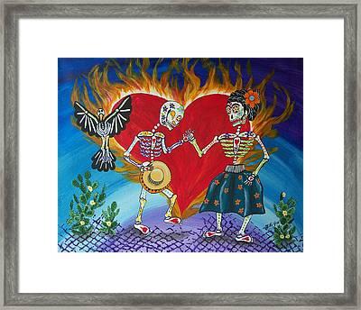 Burning Love Frida And Diego Framed Print by Julie Ellison