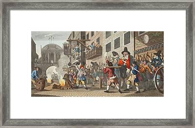 Burning Ye Rumps At Temple-barr Framed Print by William Hogarth