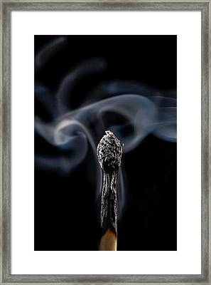 Burnt Matchstick And Smoke Framed Print by Science Photo Library