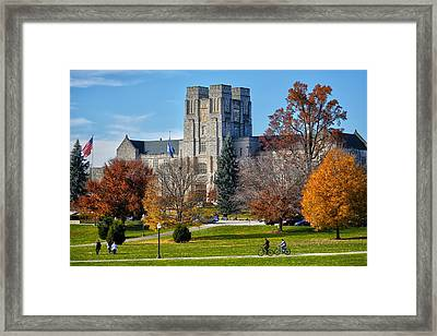 Burruss Hall Framed Print by Mitch Cat