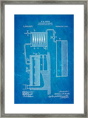 Burton Gasolene Manufacture Patent Art 1913 Blueprint Framed Print by Ian Monk