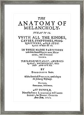 Burton Title Page, 1621 Framed Print by Granger