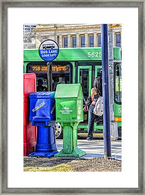 Bus Stop Fifth Avenue Framed Print by Thomas R Fletcher