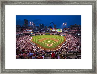 Busch Stadium St. Louis Cardinals Night Game Framed Print by David Haskett