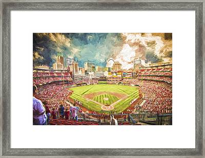 Busch Stadium St. Louis Cardinals Day Paint Framed Print by David Haskett