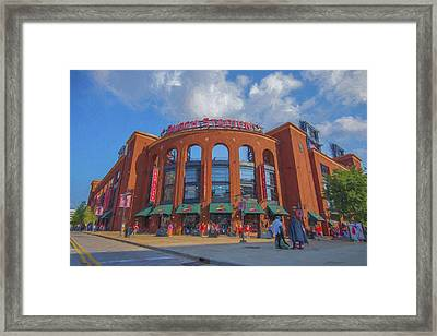 Busch Stadium St. Louis Cardinals Paint Blue Framed Print by David Haskett