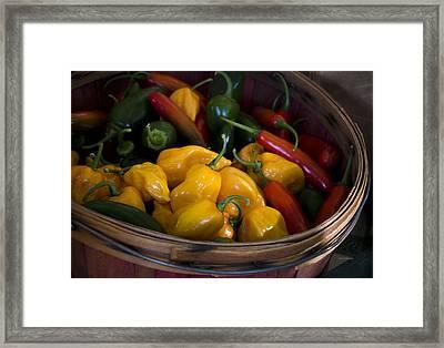 Bushel Of Peppers Framed Print by Julie Palencia