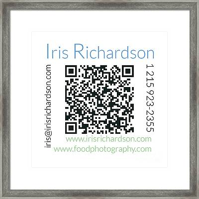 Business Card Back Framed Print by Iris Richardson