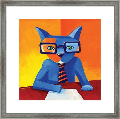 Business Cat Framed Print by Mike Lawrence