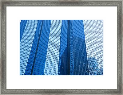 Business Skyscrapers Modern Architecture In Blue Tint Framed Print by Michal Bednarek