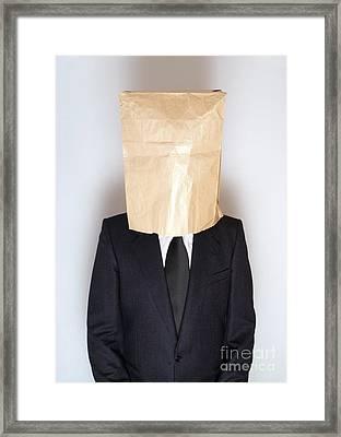 Businessman Hiding Framed Print by Viktor Pravdica