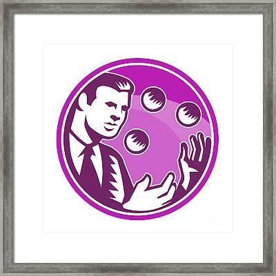 Businessman Juggler Juggling Balls Retro Framed Print by Aloysius Patrimonio