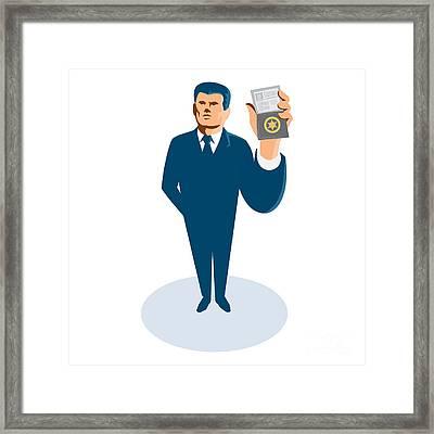 Businessman Secret Agent Showing Id Card Badge Wallet Framed Print by Retro Vectors