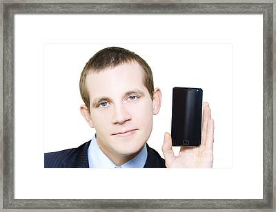 Businessman With Blank Screen Smartphone In Hand Framed Print by Jorgo Photography - Wall Art Gallery