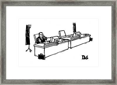 Businessman With Two Desks And Two Phones Framed Print by Drew Dernavich