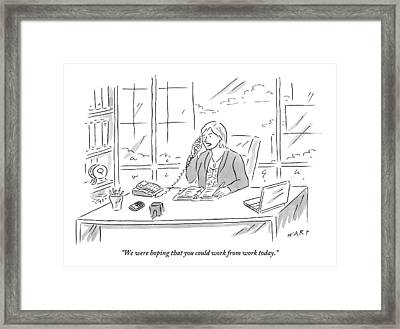 Businesswoman At Her Desk On The Telephone Framed Print by Kim Warp