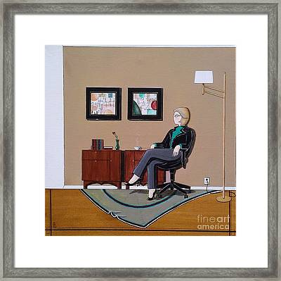 Businesswoman Sitting In Chair Framed Print by John Lyes