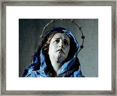 Bust Of Painful Virgin Framed Print by Francisco Salzillo