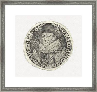 Bust Portrait Of James I, Simon Van De Passe Framed Print by Simon Van De Passe