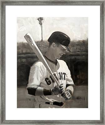 Buster Posey - Quiet Leader Framed Print by Darren Kerr