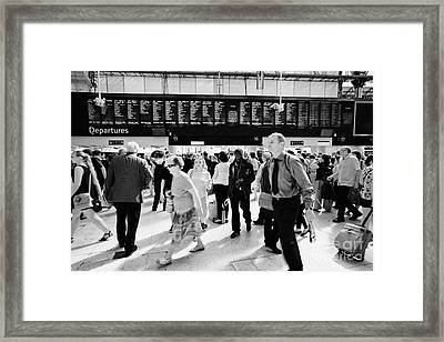 Busy Concourse Of Waterloo Overground National Rail Train Station London England Uk Framed Print by Joe Fox