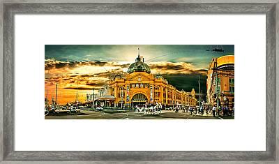 Busy Flinders St Station Framed Print by Az Jackson
