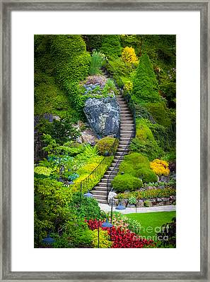 Butchart Gardens Stairs Framed Print by Inge Johnsson