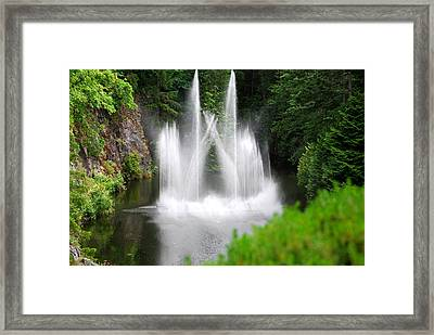Butchart Gardens Waterfalls Framed Print by Lisa Phillips