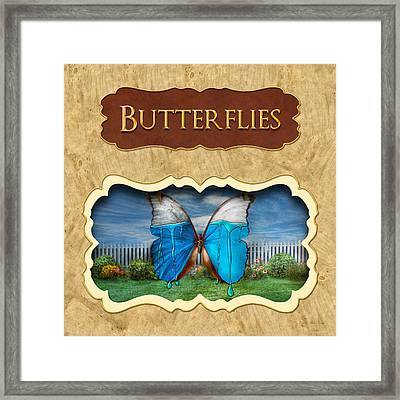 Butterflies Button Framed Print by Mike Savad