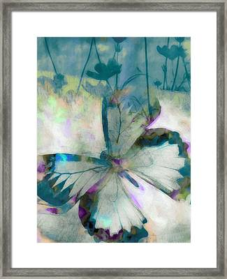Butterfly And Blooms Framed Print by Ricki Mountain