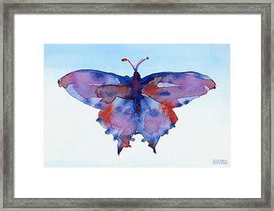 Butterfly Blue And Red Watercolor Painting Framed Print by Beverly Brown