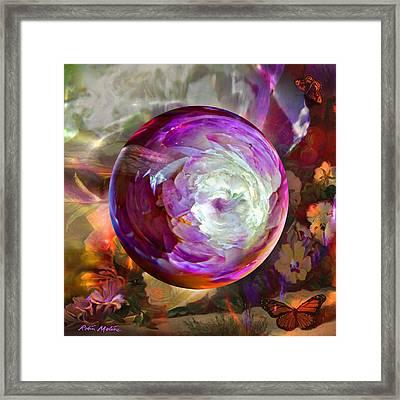 Butterfly Garden Globe Framed Print by Robin Moline