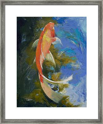 Butterfly Koi Painting Framed Print by Michael Creese