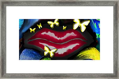 Butterfly Lips Framed Print by Tiffany Selig