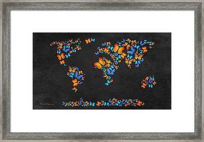 Butterfly Map Framed Print by Mark Ashkenazi