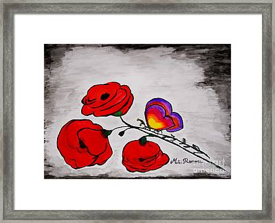 Butterfly Poppies Framed Print by Ramona Matei