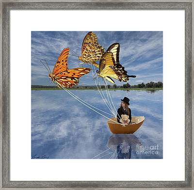 Butterfly Sailing Framed Print by Linda Lees