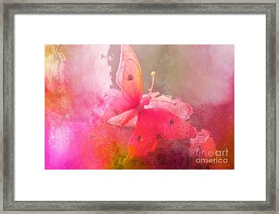 Butterfly Surreal Fantasy Painterly Impressionistic Pink Abstract Butterfly Fine Art  Framed Print by Kathy Fornal