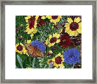 Butterfly Wildflowers Garden Oil Painting Floral Green Blue Orange-2 Framed Print by Walt Curlee