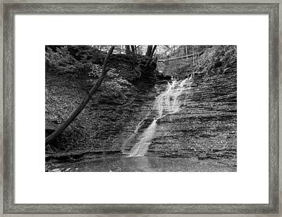Buttermilk Falls Black And White Framed Print by Clint Buhler
