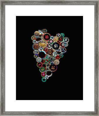 Button Heart Two Framed Print by Ann Powell