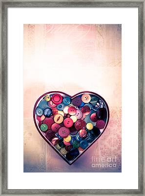 Button Love Framed Print by Jan Bickerton
